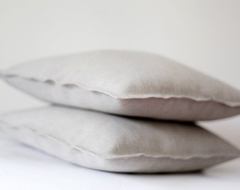 4 shams, decorative pillows, cushion covers, pillowcases, throw pillows from natural linen, unbleached, undyed - 20x20 inch size    0085
