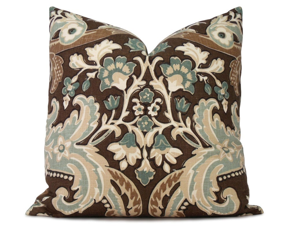 Brown Floral Throw Pillow : Brown and Blue Floral Pillow Cover Decorative Pillow Throw