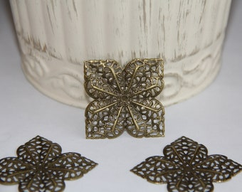 6 Filigree Metal Embellishments for Scrapbooking,Card Making,Home Decor,Mini Albums,Journals,Craft Projects,Altered Art