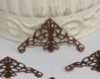 8 Filigree Copper Tone Metal Corner Embellishments for Scrapbooking,Card Making,Home Decor,Mini Albums,Journals,Craft Projects,Altered Art