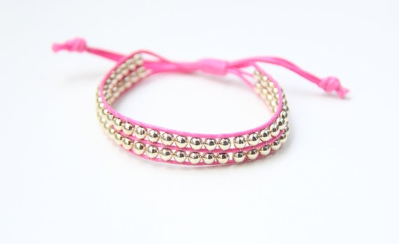 ON SALE: Friendship bracelet - rose-pink cord braided with silver beads