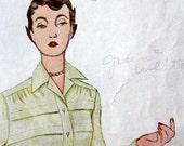 1940s Tucked front blouse tailored 3 sleeve and collar styles Simplicity sewing pattern