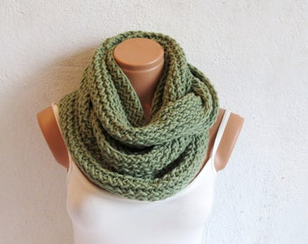 Knitted infinity scarves. Block Infinity Scarf. Loop Scarf, Circle Scarf, Neck Warmer. Lime Green Crochet Infinity