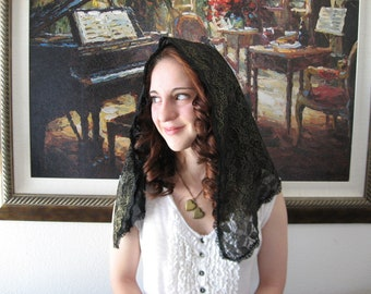 Black Mantilla LM2 - Chapel Veil Lace Mantilla Church Headcovering, D shaped,  in Black & Gold