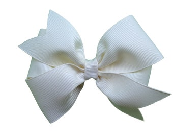 4 inch Ivory hair bow - ivory bow, hair bows, girls hair bows, toddler hair bows, baby bows, girls bows, 4 inch hair bows, hair bow, bows