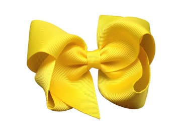 4 inch yellow hair bow - yellow bow, 4 inch bows, toddler bows, boutique bows, girls hair bows, yellow hair bows, girls bows