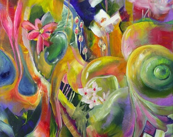 Contemporary art - contemporary painting - colorful painting - joyous art - Original oil painting - The Many Joys of Tomorrow