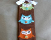 Brown Leg Warmer with Owls and a White Bow, Christmas Leg Warmers, Infant, Baby, Toddler, Preteen, Arm Warmers