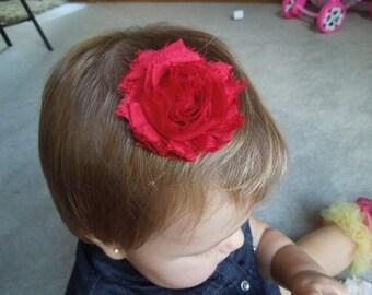 Shabby Chic Flower, Dark Red Hair Clip, Baby Bow, Baby Girl Headband, Newborn Headband.