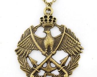Vintage Retro Gold-tone Hawk/Eagle and Anchor Badge Pendant Necklace