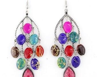 Pretty Silver Tone Colorful Beads Chandelier Dangle Drop Earrings