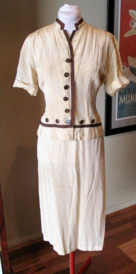 Vintage 1930s 'Fruit of the Loom' Rayon Dress Suit Set - L