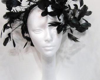 Black Feather Fascinator -Feather Fascinator -Black Head Dress-  NYC Fascinator- Black Fascinator -Feather Headband- Derby Fascinator- Black