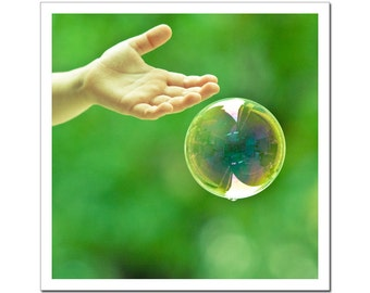 Fine Art Photography, Dreamy Soap Bubble and Kids Hand, Square 5x5, grass green tender shoots