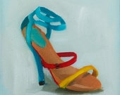Original Oil Painting on Deep Edge Canvas - Summer Shoes -  6x6