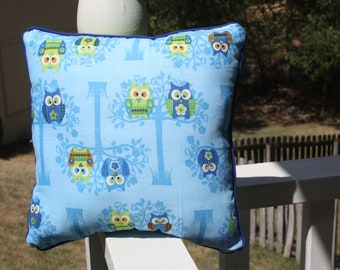 "Owl Pillow on Blue Cotton with Navy Blue and Lime Green Owls and Lime Green Backing - ""Midnight Owls Pillow"""