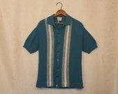 Vintage Men's Blue Striped Vivaldi Stretch Knit Shirt