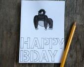 Gorilla happy birthday card- 4 x 5.5