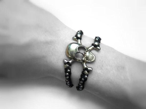 Skull Hemp Bracelet: Black Silver Adjustable Unisex FREE SHIPPING