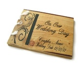 """Wooden Personalized Guest Book - Wedding Rustic Book 10""""x12"""""""