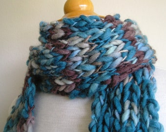Clarissa Scarf - Chunky Wool - Long Skinny Scarf - Blue and Teal and Chocolate