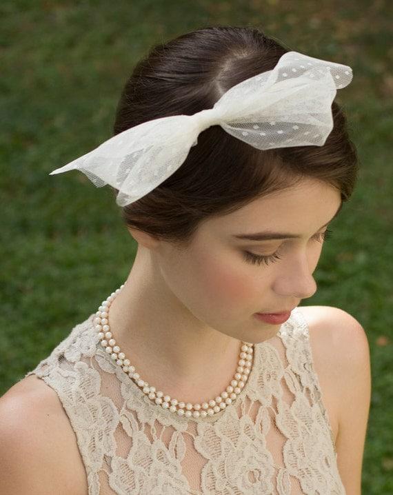 Swiss Dot/ Polka Dot  English Tulle Headband Ivory Retro