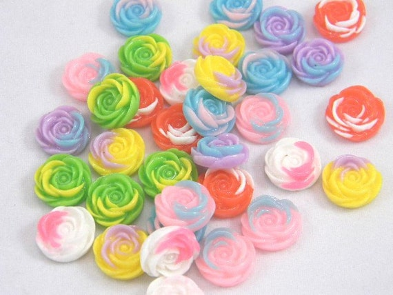 28 Resin Flat Back Roses, Multi-color Assortment, 14mm, Jewelry Supplies, Decoden Flowers, Kawaii Roses