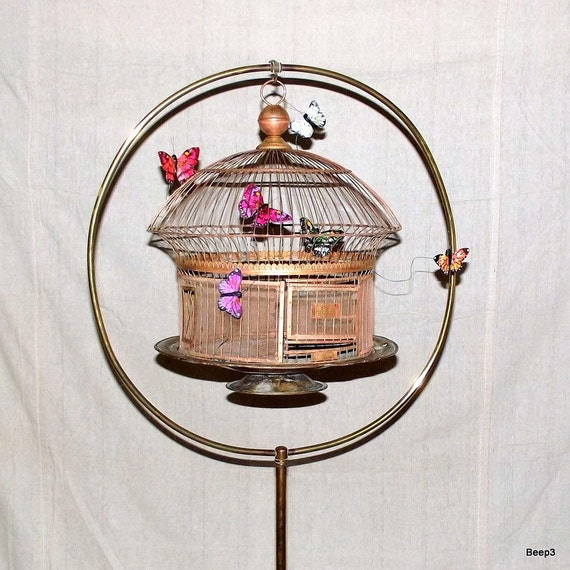Antique Hendryx Copper Bronze Bird Cage and Brass Stand