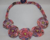 Embroidered Necklace - Michaelmas Daisies on coiled handmade cord bib necklace