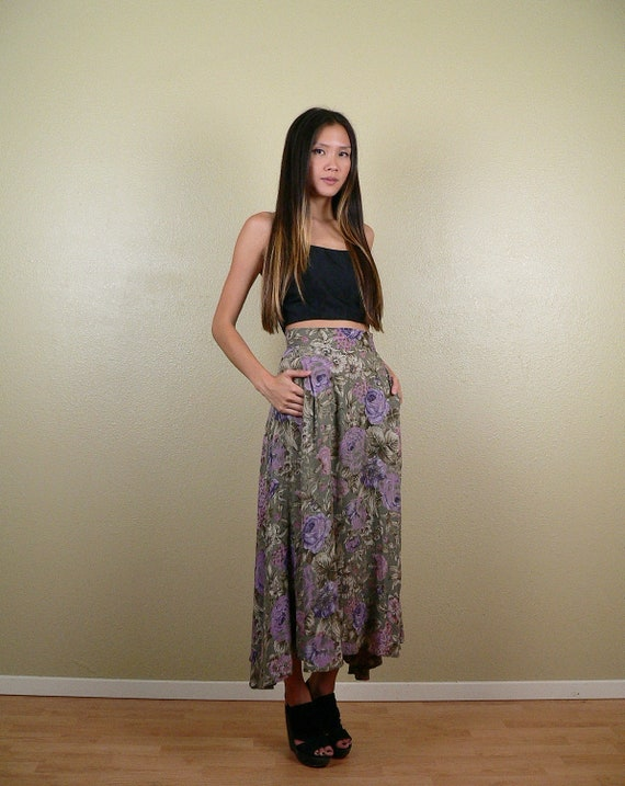 high waisted flowy maxi skirt w by stellarvintique