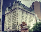 NYC iconic Plaza Hotel with Statue. Central Park, Historic 5th Avenue, Manhattan New York City Original photograph / print.