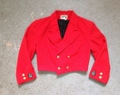 vintage 1990s cropped jacket. red nautical style coat. retro outerwear.
