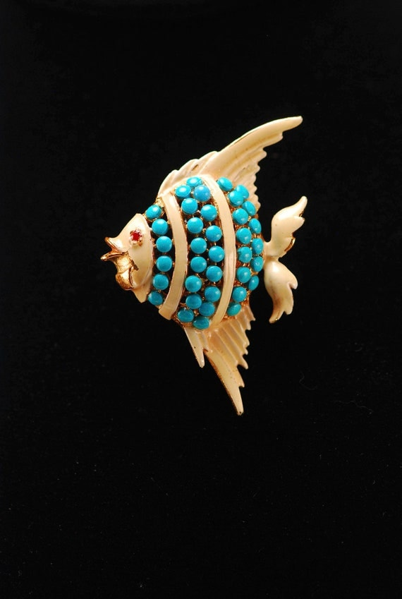 Vintage Turquoise Glass Angel Fish Brooch