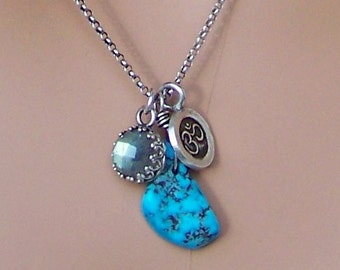 Om necklace sterling silver with turquoise and labradorite - yoga jewelry - zen - artisan