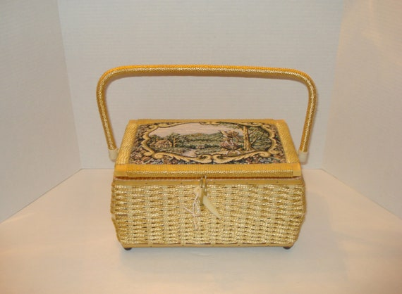 Vintage Sewing Basket Wicker Tapestry Covered Lid