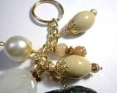 Beaded Key Chain, Key Fob, Purse Jewelry, Gemstones with Gold