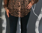 Vintage Button-up Leopard Sheer Print Tunic Blouse