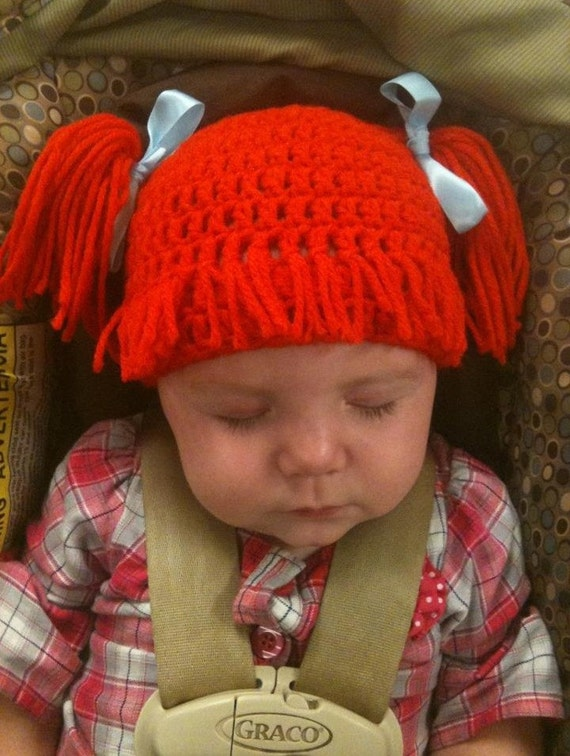 Items similar to Baby girl adorable Cabbage Patch hat complete with hair/wig ...