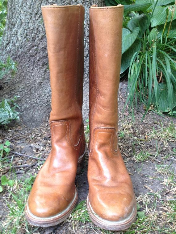 Vintage LUCCHESE Resistol Tan Leather Cowboy Boots Size 7.5D