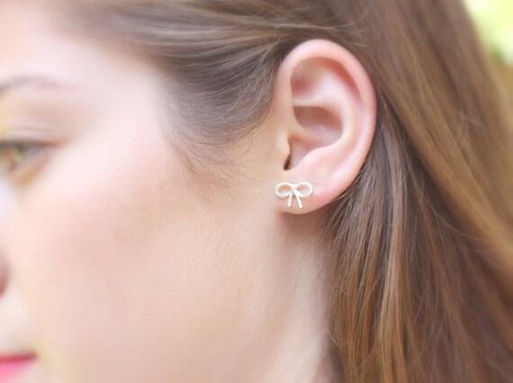 Bow earrings - silver post earrings, tiny bow post, cute bow, small stud earrings - Bow stud earrings sterling silver