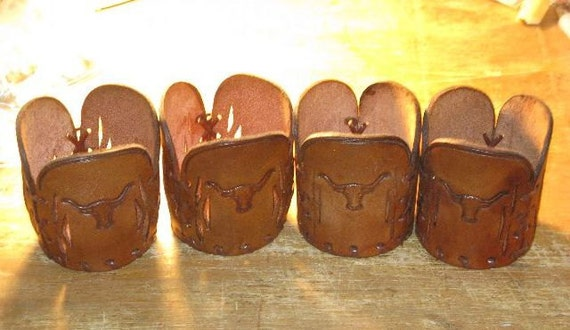 Leather Longhorn Cattle Drink Glass Holders