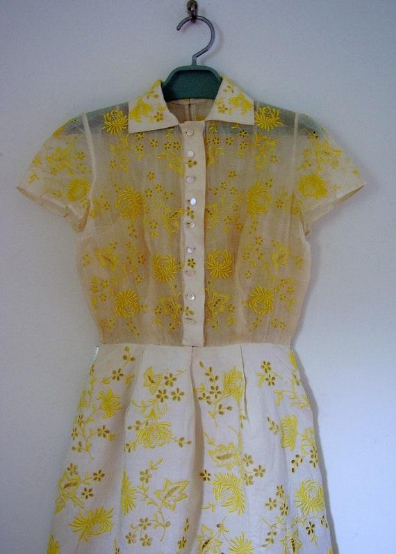 Samuel Winston by Roxanne Yellow Embroidered Linen Dress Nan Duskin Boutique