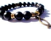 Men's Bracelet, Black Onyx Bracelet, Fishers of Men, Christian jewelry