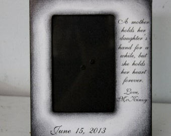 Mother Father Custom Wedding Frame Bride Walk down the aisle White/Black Distressed Keepsake Personalize Picture Frame 4x6