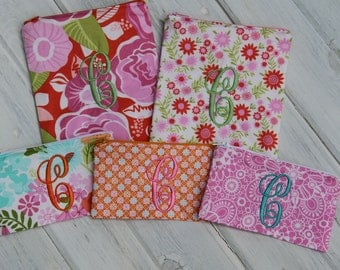 Personalized Set of 1 to 5 Pink and Orange Floral Reusable Snack / Sandwich Bags with Zipper