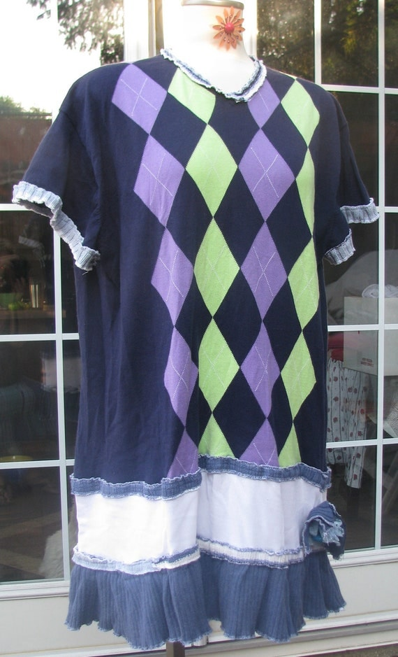 SALE....Plus Size top dress tunic ladies teen funky fun unique knit extra large