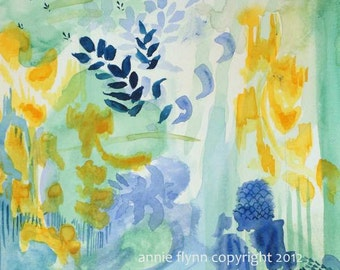 """Archival Print of Original Oil Painting """"Sea Grass in Aqua"""""""