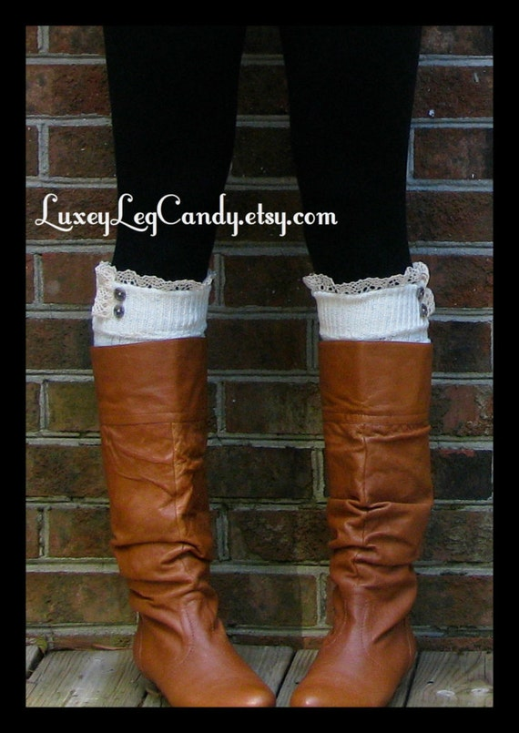 Lace and Button Leg Warmers / Boot Socks In Off White. Perfect with boots, heels or flats