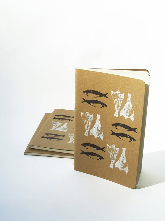 Pocket size Notebook with Sardines & Bacalhau by Alfamarama