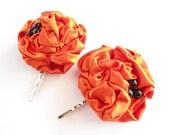 Orange Flower Hair Pins, Rosette Hair Clip, Satin Fabric Flower Black Pearls Beads Bobby Pin, Adult, Women, Fabric Flower Hair Accessories